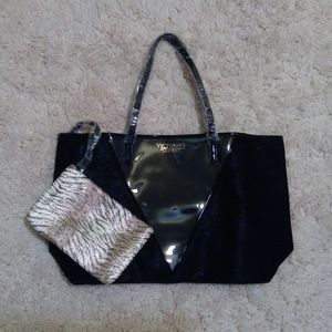 Victoria's Secret VS Black Beach Tote & Pouch NWOT